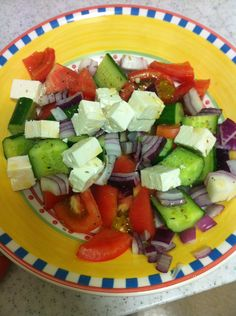 How to Make a TRUE Greek Salad...NO lettuce and lots of chunky vegetables.