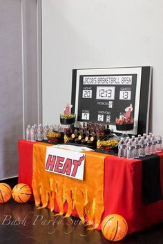 Miami heat basketball birthday party ideas photo 1 of 14 catch my party spo Basketball Baby Shower, Basketball Birthday Parties, Sports Birthday, 3rd Birthday Parties, Sports Party, Birthday Ideas, 13th Birthday, Grad Parties, Miami Heat Basketball