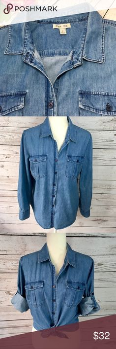 e1da95a29b3be0 Per Se blue chambray button down long sleeve shirt Per Se blue chambray denim  button down