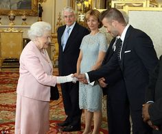 David Beckham meets the Queen ahead of her celebration of young leaders at Buckingham Palace today