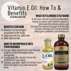 Vitamin E Oil: How To Benefits... Pretty much ALL natural vitamins stimulate hair growth & generate good health in general. Add water to the mix & WALA! Everyone should see results within a year's time