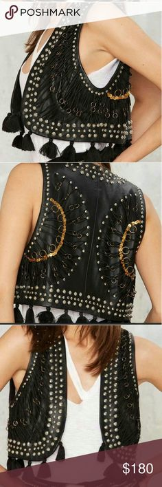 $Drop! leather embellished bohemian vest! M $dropped to final sale! Nasty Gal Like new, fits sm/med best. Too small or would never sell! ! Will trade for a large only. Price firm don't ask, this is a knock out!  this is 100% leather made thick & beautifully done! from nasty gal & hot as he*# :) so sad to sell it! Ugg. Nasty Gal Jackets & Coats Vests
