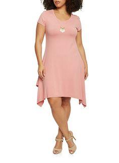 Plus Size Sharbite Hem T Shirt Dress with Necklace,ROSE
