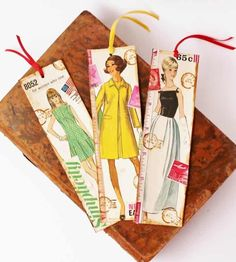 Vintage sewing pattern bookmarks by Adirondack Girl at Heart, featured on DIY Salvaged Junk Projects at Funky Junk! Vintage Bookmarks, Vintage Stamps, Vintage Crafts, Sewing Crafts, Sewing Projects, Sewing Art, Sewing Tips, Tim Holtz Distress Ink, How To Make Bookmarks