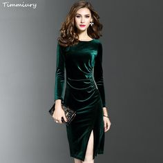5ec4b23f48 Timmiury New Women Spring Long Sleeves Velvet Dress Office Slim Fit Sheath  Sexy Solid Vestidos Knee-Length Dress Green Black