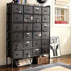 The Rockwell Metal Chest of Drawers boasts a vintage industrial flair and features 24 metal drawers. The drawers have a crackle finish that makes them look lived-in. Industrial Drawers, Metal Drawers, Industrial House, Industrial Chic, Industrial Furniture, Chest Of Drawers, Industrial Design, Vintage Industrial, Metal Bookcase