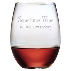 Chatty Stemless Wine Glass