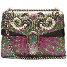 Gucci Dionysus embellished brocade shoulder bag (18,120 ILS) ❤ liked on Polyvore featuring bags, handbags, shoulder bags, gucci, handbag's, green multi, green handbags, glitter purse, green shoulder bag and hand bags