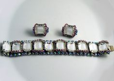 Vintage Hobe Ice Mirror Rhinestone Art Glass Set, Bracelet and Clip Ea – Vintage Lane Jewelry