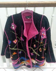 DOBRILA 1980s Vintage Sweater ~ Gray & Pink, Oversized Hand Knit ~ Sz Small #Handmade