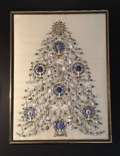 Christmas Tree Framed Beaded Doves Needle Point Blue Silver Gold Pearl Wedding G  | eBay