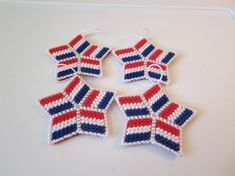 RED WHITE & BLUE Patriotic Stars in Plastic by CREATIONSBYJEANNIE, $6.00