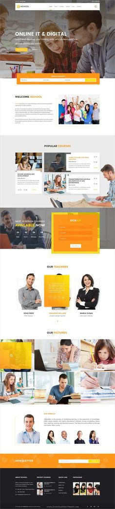 iSchool is an unique and modern #PSD template for #university, college, #school or online learning education related website with 32 organized PSD files download now➩ https://themeforest.net/item/ischool-education-psd-template/19538559?ref=Datasata