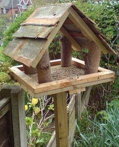 Rough cut bird shelter/feeder