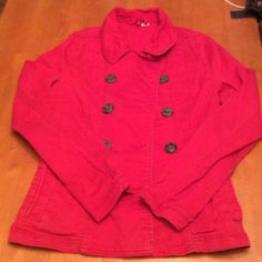 Red denim jacket. Great condition double breasted denim jacket. Super cute! Size small. Looks pink in photo but is actually red. H&M Jackets & Coats Jean Jackets