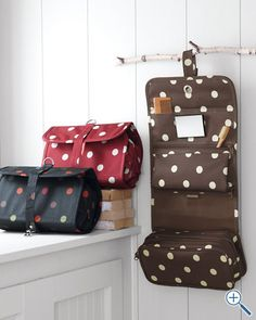 brown hanging toiletry bag