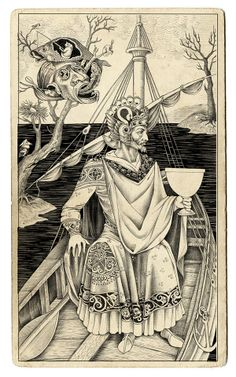 """These anachronistic style illustrations are by Sveta Dorosheva, a freelance illustrator based in Israel. """"Sveta enjoys traditional drawing by hand, most of her illustrations are works on paper. Her anachronistic style of illustration Alphonse Mucha, King Of Cups, Illustration Photo, Pencil Illustration, Medieval Books, Online Tarot, Graphic Artwork, Freelance Illustrator, Tarot Decks"""