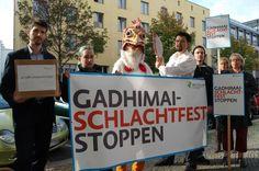 Mahnwache vor der Botschaft von Nepal gegen das Gadhimai-Schlachtfest
