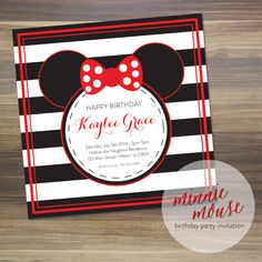 Minnie Mouse Birthday Party Invitation |  5x5  | Digital File | Two Colors | Amanda Franks Design | Christmas in July Special on Etsy | 50% Off