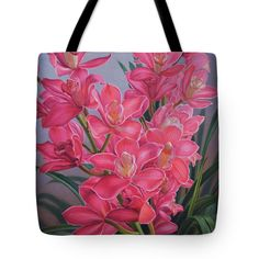 """Orchid Fever 1 Pink Cymbidiums Tote Bag 18"""" x 18"""" and other sizes, from painting by Fiona Craig. See 'Prints Shop' at www.fionacraig.com"""