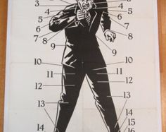 Vintage Police Shooting Target, professionally mounted on canvas, Fabulous Graphic Art