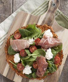 """Pizza"" med parmaskinke, hytteost og spinat til fase 2 i Dukan Kuren."