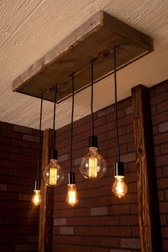 Bare Bulb Chandelier With Reclaimed Wood And By Bornagainwoodworks
