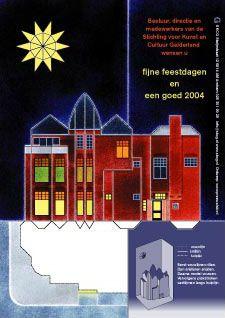 Bouwplaten. Steijnstraat 12 Arnhem. Nieuwjaarskaart: bouwplaat van het huis waar Kunst en Cultuur Gelderland is gevestigd. Grafisch Ontwerpers Arnhem