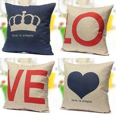 43 X 43CM Love Heart Couple Throw Decorative Cotton Linen Pillow Case Cushion Cover Blue Love Heart/Imperial Crown