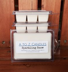 No. 874 | SPARKLING SNOW | Natural Soy Wax Melts | 2.75 oz Clamshell | Hand Poured | Vegan | Eco-Friendly | Holiday | Winter by AtoZCandles on Etsy https://www.etsy.com/listing/260613552/no-874-sparkling-snow-natural-soy-wax