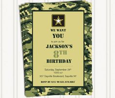 Camouflage Military or Army Birthday Invitations for Boy or Girl