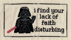 Star Wars Darth Vader Lack Of Faith  Cross Stitch Pattern