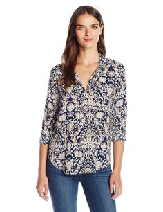 VELVET BY GRAHAM and SPENCER Women's Printed Challis Longsleeve Blouse ** Special  product just for you. See it now! : Fashion