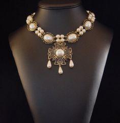 Collier Renaissance, médiéval, Tudor collier, bijoux médiévaux, Renaissance, bijoux élisabéthaine, Lady Rebekka U Pk couleur