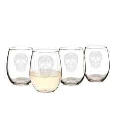Sugar Skull 21-Oz. Stemless Wine Glasses - Set of Four