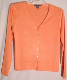 SAKS FIFTH AVENUE Cantaloupe 100% Tussah Silk Sweater-Cardigan-Top - Size Medium #SaksFifthAvenue #Cardigan #silk #tussah #cantaloupe #medium #sweater #top