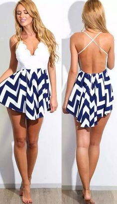 Love this dress!! Classic Chevron Print Backless Skater Dress