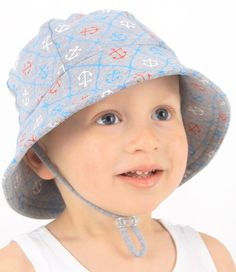 Baby Bucket Hat - Nautical Print with Strap. Available in 3 sizes from birth. Rated UPF50+ Excellent Protection. http://www.bedheadhats.com.au/nautical-print-baby-bucket-hat-with-strap-grey