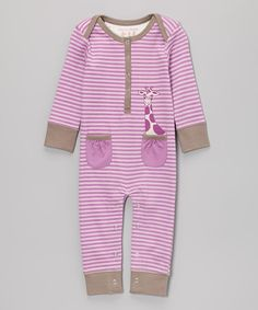 Another great find on #zulily! Lavender Stripe Giraffe Playsuit - Infant by tiptoe & whisper #zulilyfinds