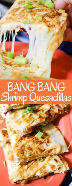 Shrimp, sweet & spicy bang bang sauce, cheese, and slaw all grilled between tortillas make these Bang Bang Shrimp Quesadillas the perfect meal or appetizer! Fish Recipes, Seafood Recipes, Gourmet Recipes, Mexican Food Recipes, Appetizer Recipes, Cooking Recipes, Healthy Recipes, Dinner Recipes, Shrimp Appetizers