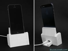 So I got an iPhone 5 and decided to make a charging dock for it.  The cable is held in using a 1x2 clip brick and is very solid.  www.BruceLowell.com