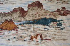 Vintage Fabric - Arizona Desert Indians - Cotton Canvas - 26 x 26