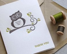 Owl Thank You Letterpress Greeting Card Set - Hoot Owl, Tree Branch, Wood Grain, Chartreuse Green 3 pack (GTY02). $11.25, via Etsy.