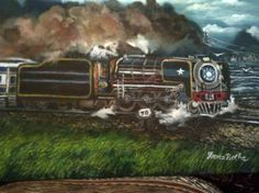 """Saatchi Art Artist FRANS BOTHA; Painting, """"BLUE TRAIN ORIGINAL OIL PAINTING BY FRANS BOTHA FROM SOUTH AFRICA"""" #art"""