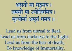 Sanskrit Mantra - Asto Ma Lead Me from Darkness into Light. Sanskrit Quotes, Sanskrit Mantra, Sanskrit Tattoo, Vedic Mantras, Hindu Mantras, Sanskrit Words, Ahimsa Tattoo, Hindu Rituals, Thai Tattoo