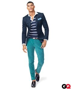 Blazer, $1,790 by Gucci. Rugby shirt, $485 by Michael Bastian. Cords, $450 by Bottega Veneta. Loafers, $530 by N.D.C. Made by Hand.