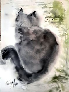 My cat Watercolor by Angela Simula #CatWatercolor