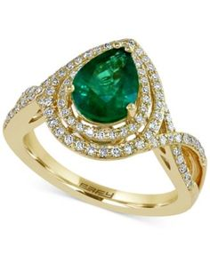 Brasilica by EFFY Emerald (1-1/6 ct. t.w.) and Diamond (3/8 ct. t.w.) Ring in 14k Gold
