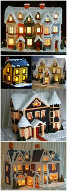 Learn how to make beautiful lighted gingerbread houses. Let your imagination take you from the most simple to the most comples. Video slideshows included.
