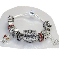 """7.0"""" Viva Las Vegas Theme Charm with 12 Charms, Pocker Cards,Casino Chips,Dice,Martini Glass & Crystals charm beads, For Snake Chain Bracelets"""